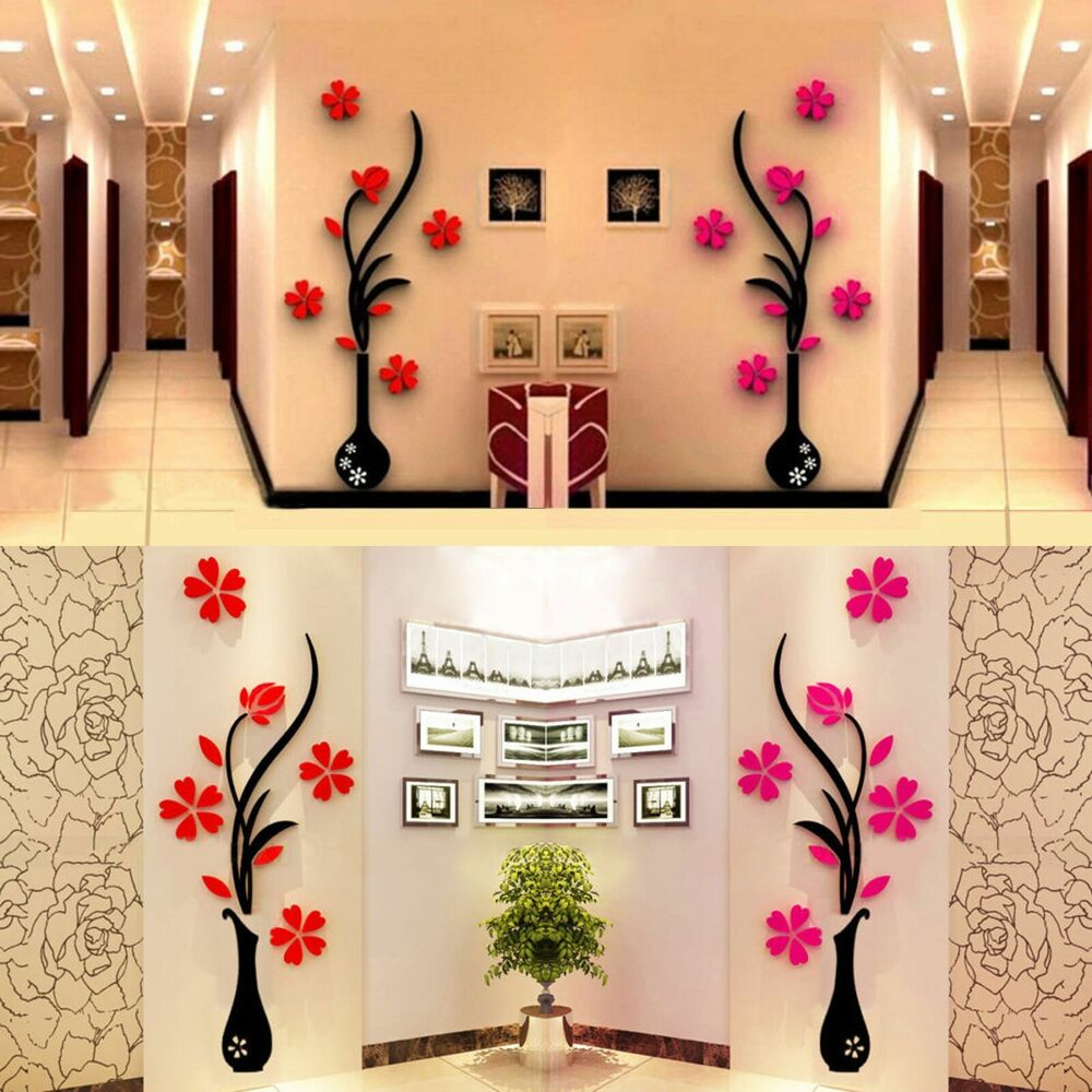 3d vase removable flower tree crystal acrylic wall sticker home decor ebay. Black Bedroom Furniture Sets. Home Design Ideas