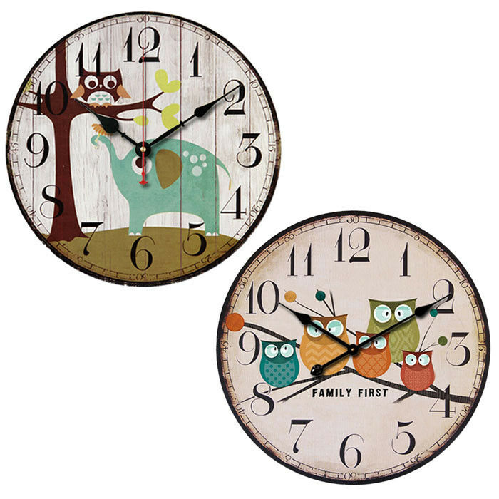 Wall Clock Owl Design : European style creative forest owl round wood quartz wall