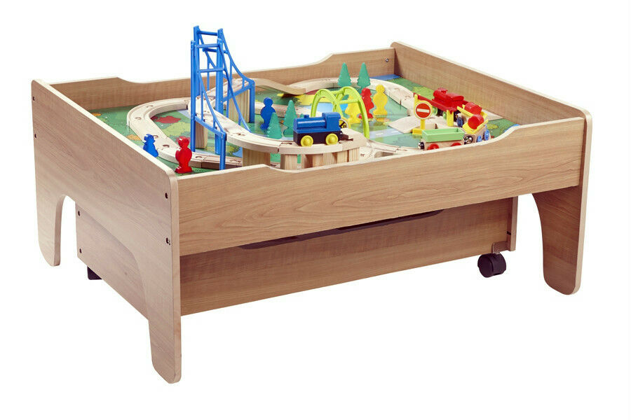 New Reversible Wooden Train Table 100 Pieces Train Track