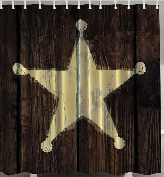Sheriff star fabric shower curtain badge western lone star for Star material for curtains