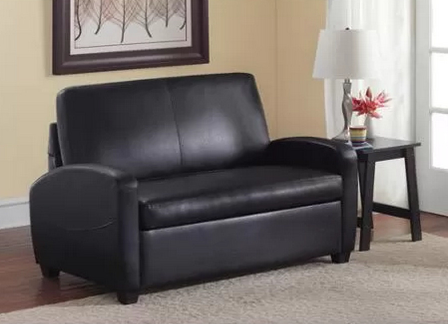 Black sofa sleeper loveseat couch convertible twin bed mattress small space beds ebay - Small space convertible furniture image ...