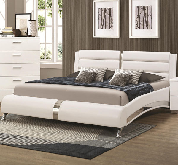 Contemporary Modern Beds: NEW KILLIAN MODERN WHITE Or BLACK LEATHERETTE CHROME QUEEN