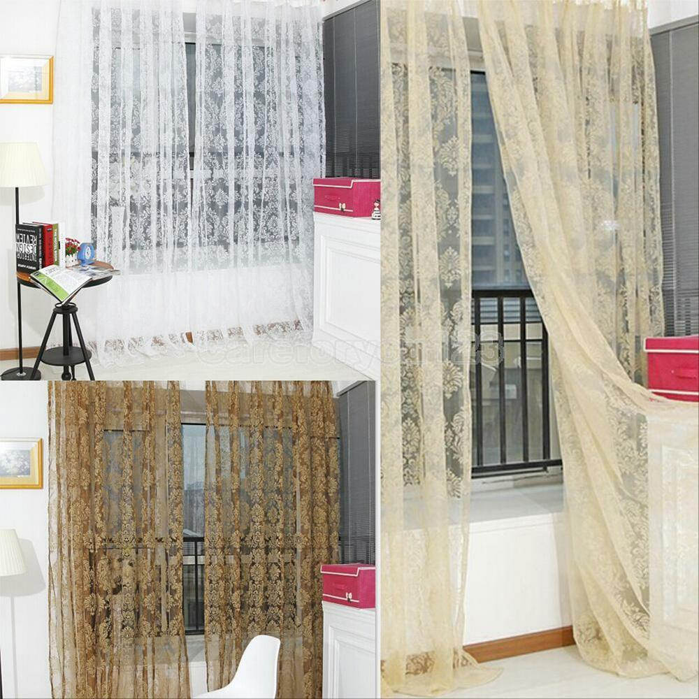 Voile Slot Top Net Curtain Flower Window Bedroom Curtains
