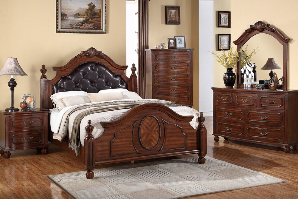Modern 4 pc bedroom set queen cal king est king size bed for King size headboard and dresser set
