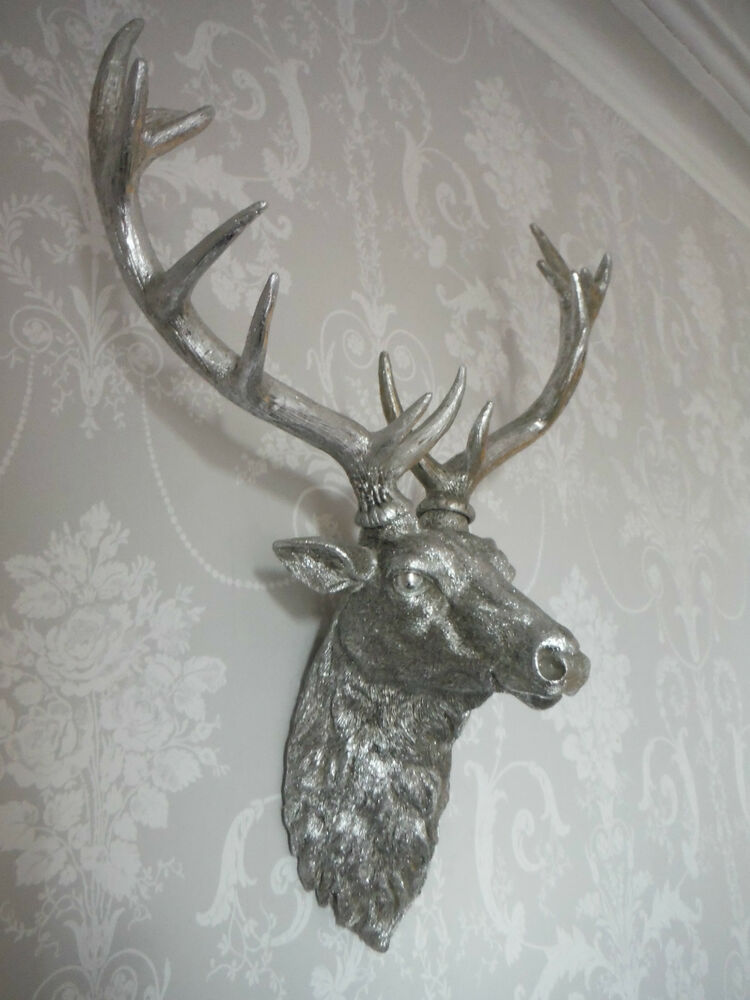 Large Silver Stag Head Deer Head Wall Mounted Stunning