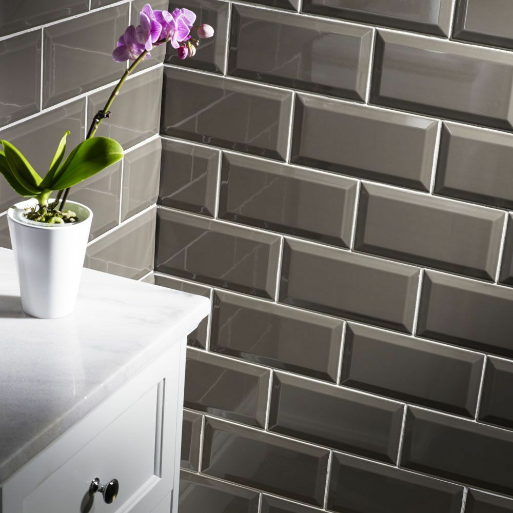 Black Gloss Kitchen Wall Tiles: Sample Of Gloss Dark Grey Metro Bevelled Edge Ceramic Wall