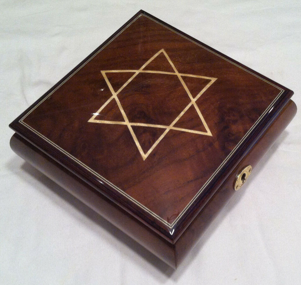 reuge music star of david musical jewelry box plays