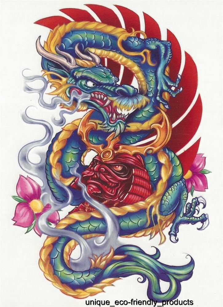 Tribal Tattoo With Color: Tribal Multi Coloredl Dragon Colorful Temporary Tattoo NEW