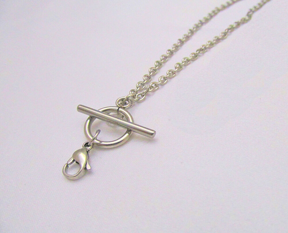Stainless Steel Toggle Chain Necklace W Lobster Clasp