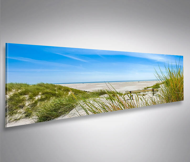 nordsee strand panorama format modernes bild auf leinwand wandbild poster ebay. Black Bedroom Furniture Sets. Home Design Ideas