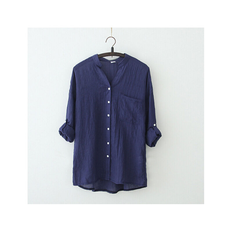 Autumn women lose cotton stand collar button three quarter for Three button collar shirts