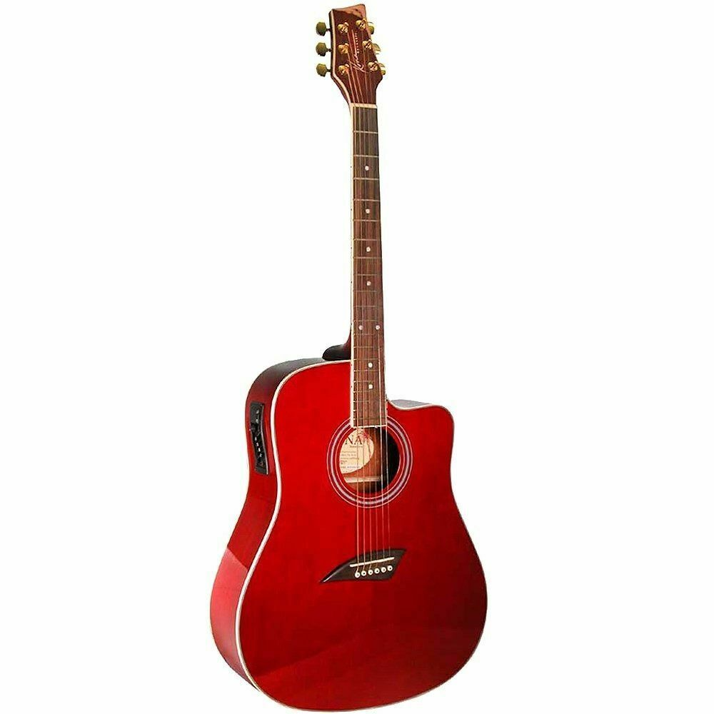new kona k1etrd 6 string dreadnought cutaway acoustic electric guitar trans red 102010100647 ebay. Black Bedroom Furniture Sets. Home Design Ideas