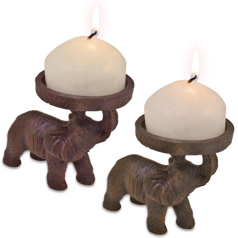 2 Elephant Church Candle Holders African Indian Hindu