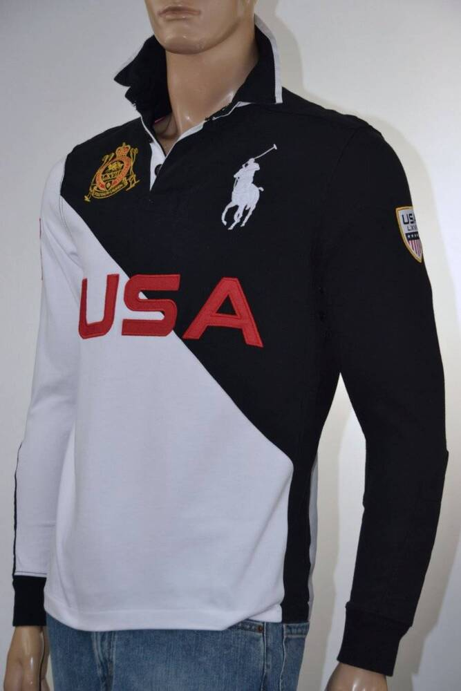 Ralph Lauren Custom Fit Black White Usa Long Sleeve Rugby