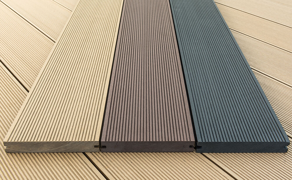 Solid wpc wood plastic composite decking boards 150 x for Plastic decking boards