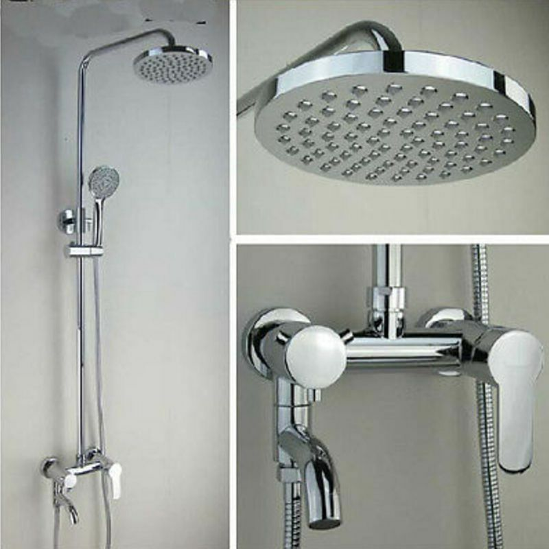 Wall Mounted Exposed Shower Faucet Set Round Rain Shower
