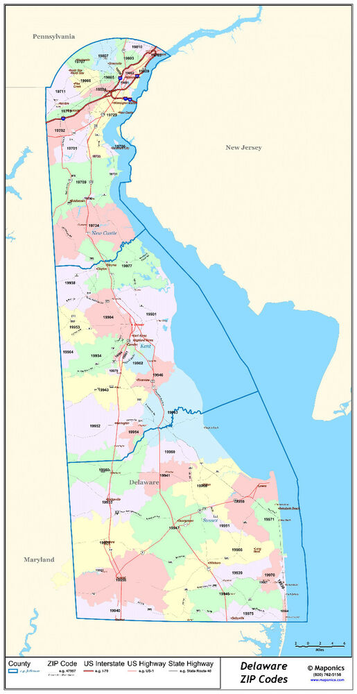 Delaware State Zipcode Laminated Wall Map | eBay on