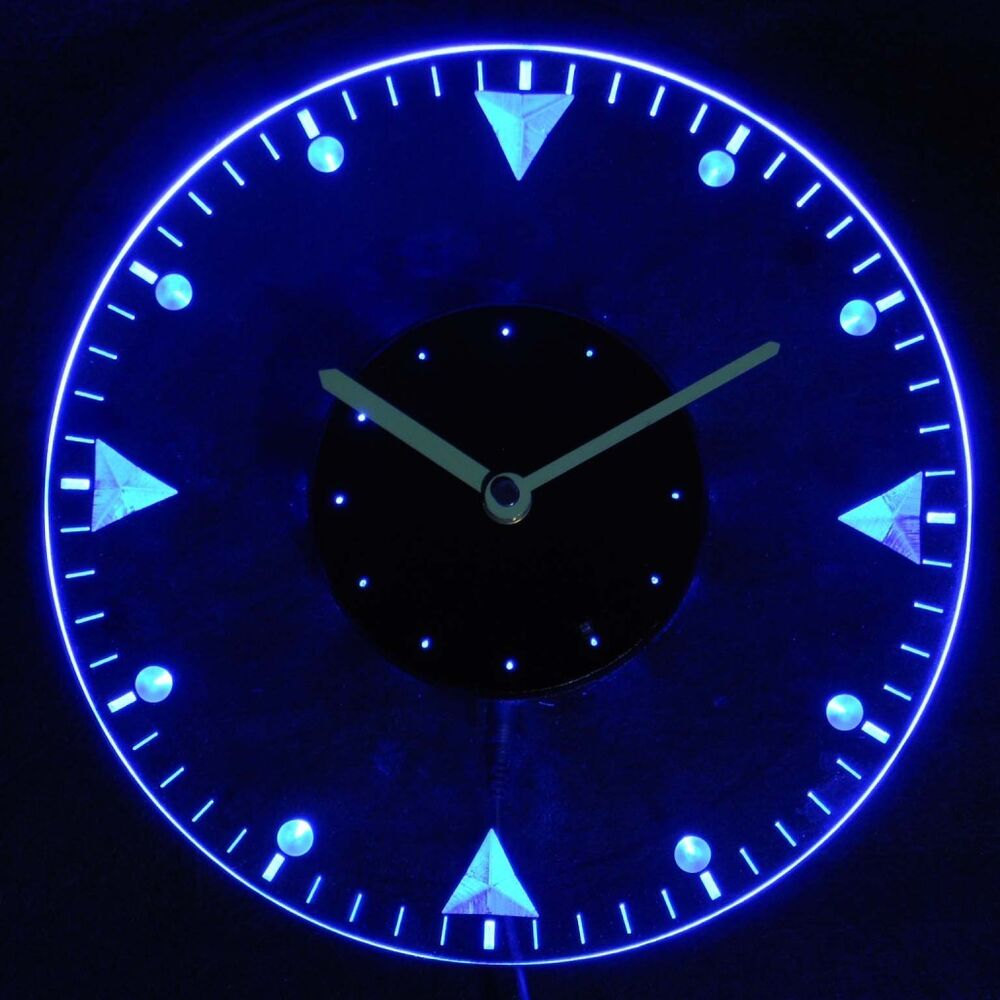 Wall Clocks With Neon Lights : cnc2020-b Man Cave Bold Illuminated Wall Neon Clock Sign LED Night Light eBay
