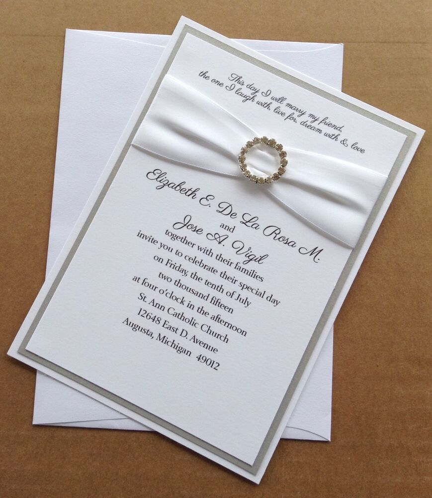 Silver Wedding Invitations: Silver And White Wedding Invitation Set