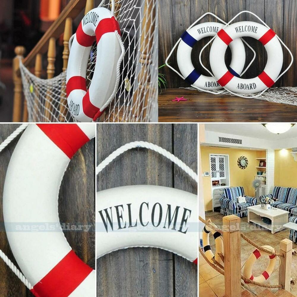 9 7 Red Welcome Nautical Decor Lifering Lifebuoy Home Wall