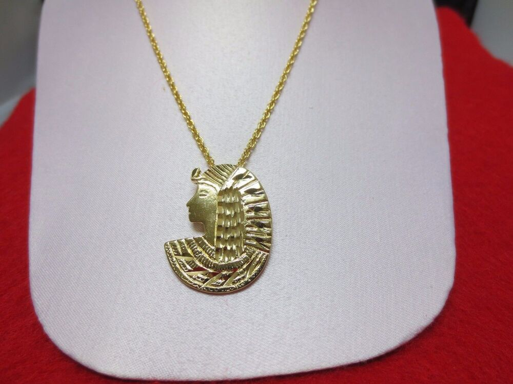 14 Kt Gold Plated Egyptian Cleopatra Charm Amp Rope Chain