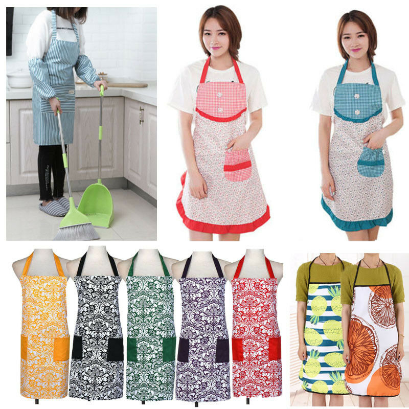 Waterproof women apron kitchen restaurant bib cooking for Apron designs and kitchen apron styles