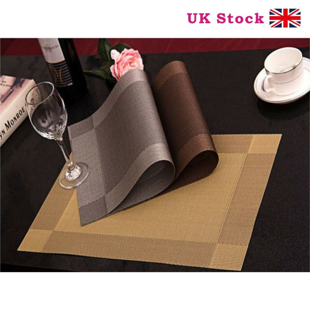 Set Of 4 Vinyl Dining Table Place Mats Placemats Pad Weave