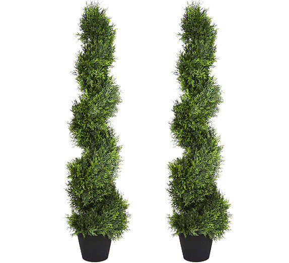 """Topiary Spiral Trees: 2 Artificial 4'3"""" Cypress Spiral Topiary Tree Fake Plant"""