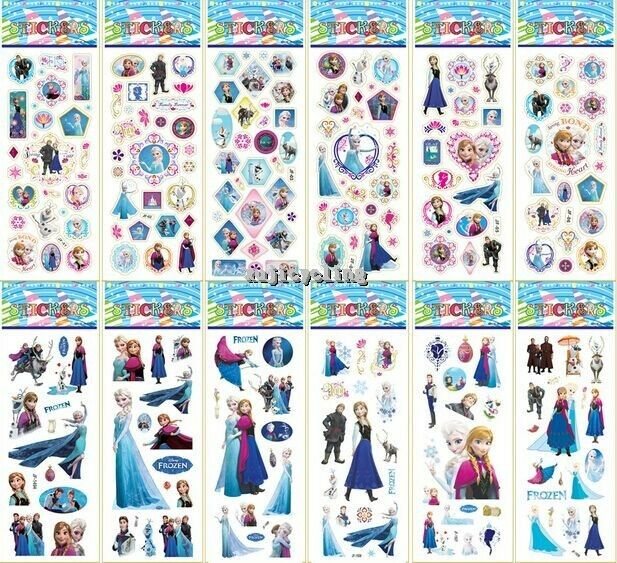 50 sheets frozen puffy elsa anna olaf stickers girls party favors