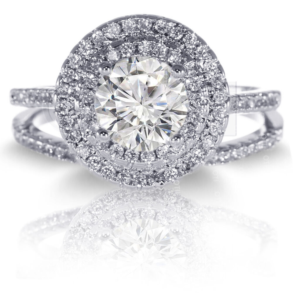 Wedding Ring Sets Sterling Silver: Brilliant Double Halo Simulated Diamond Engagement