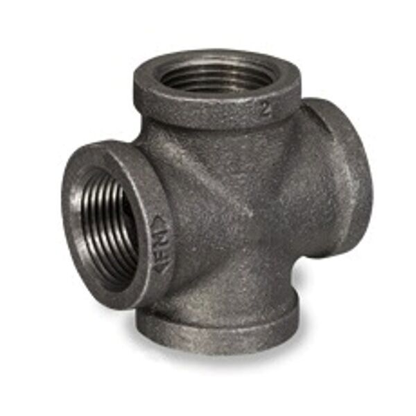 Quot black malleable iron pipe threaded cross