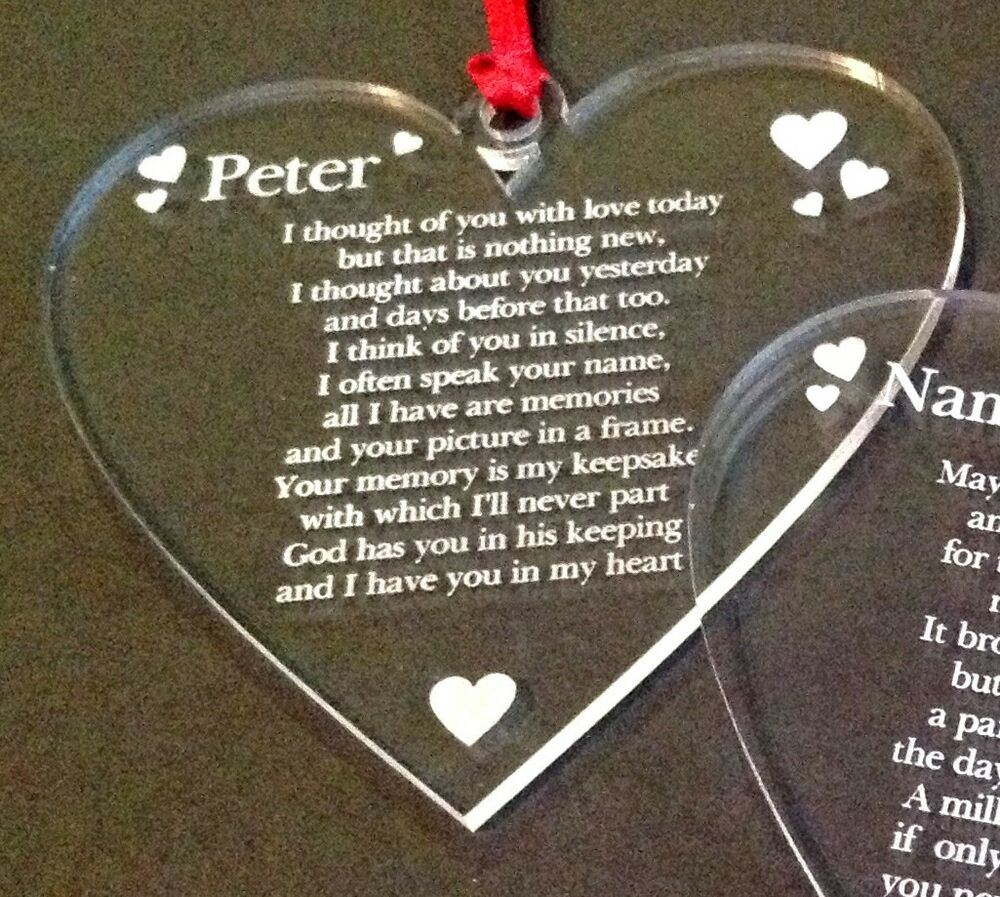 Personalised Memorial Engraved Heart Shape Acry Christmas