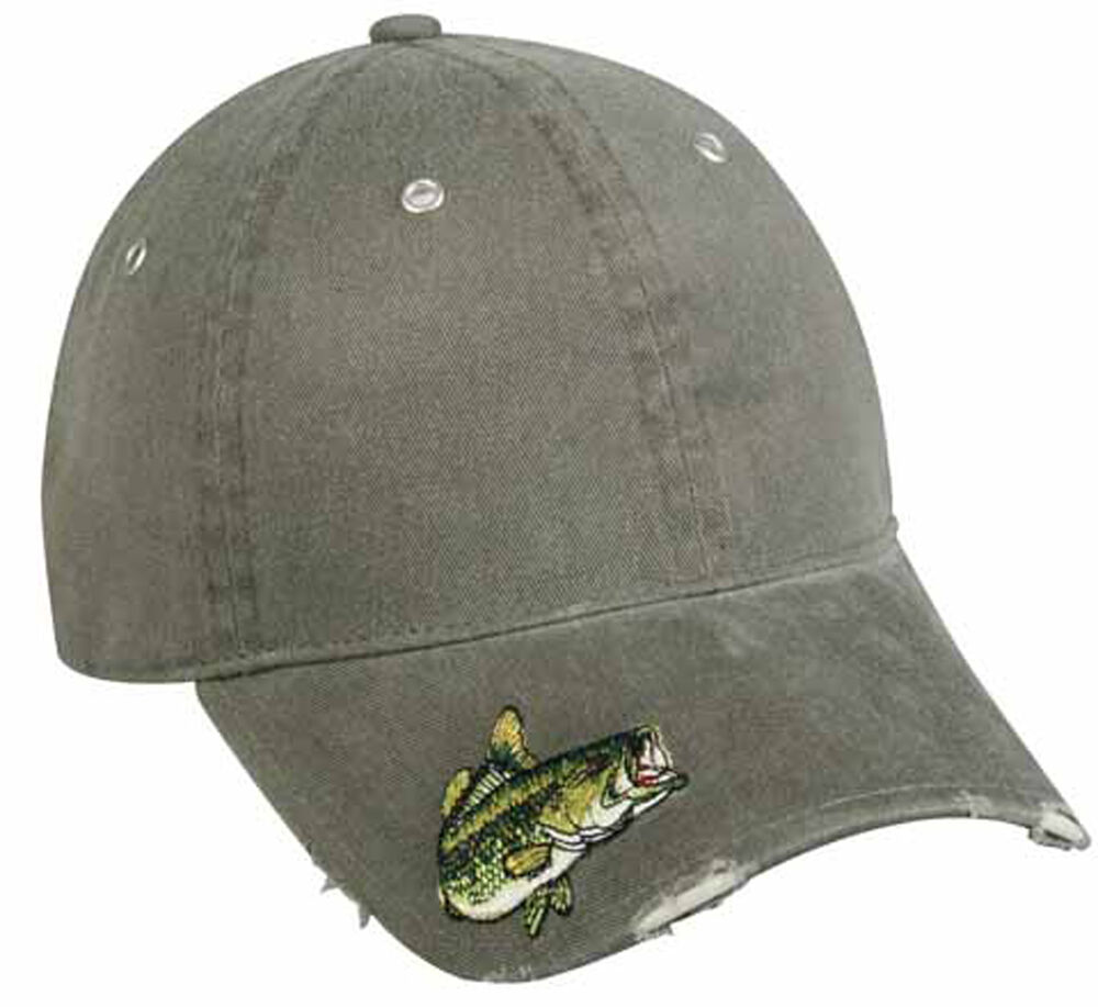 Cap bass embroidered on visor fishing hat adult size bas for Bass fishing hats