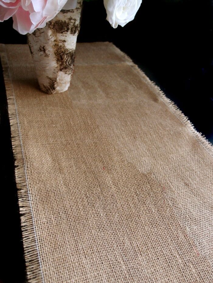 "FRINGED BURLAP TABLE RUNNER 14"" x 108"" 100% PREMIUM BURLAP ..."