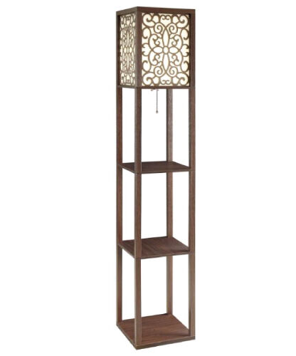 cappuccino floral floor lamp with three tiered shelves ebay. Black Bedroom Furniture Sets. Home Design Ideas