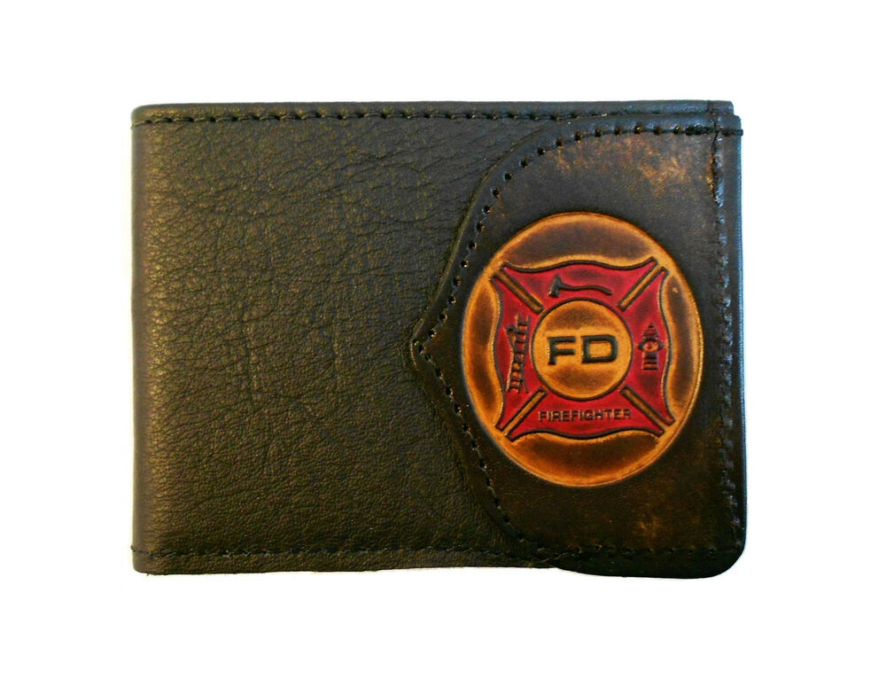 Firefighter Leather Billfold Wallet Fireman Fire