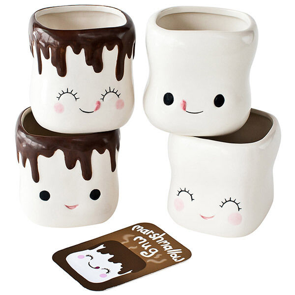 Smiling Marshmallow Hot Cocoa Mugs Set Of 4 Cute Ceramic