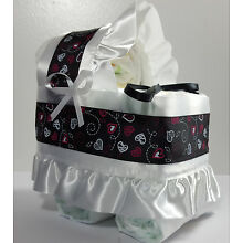 Diaper Cake Bassinet Carriage Baby Shower Neutral - Chalkboard Black with Hearts