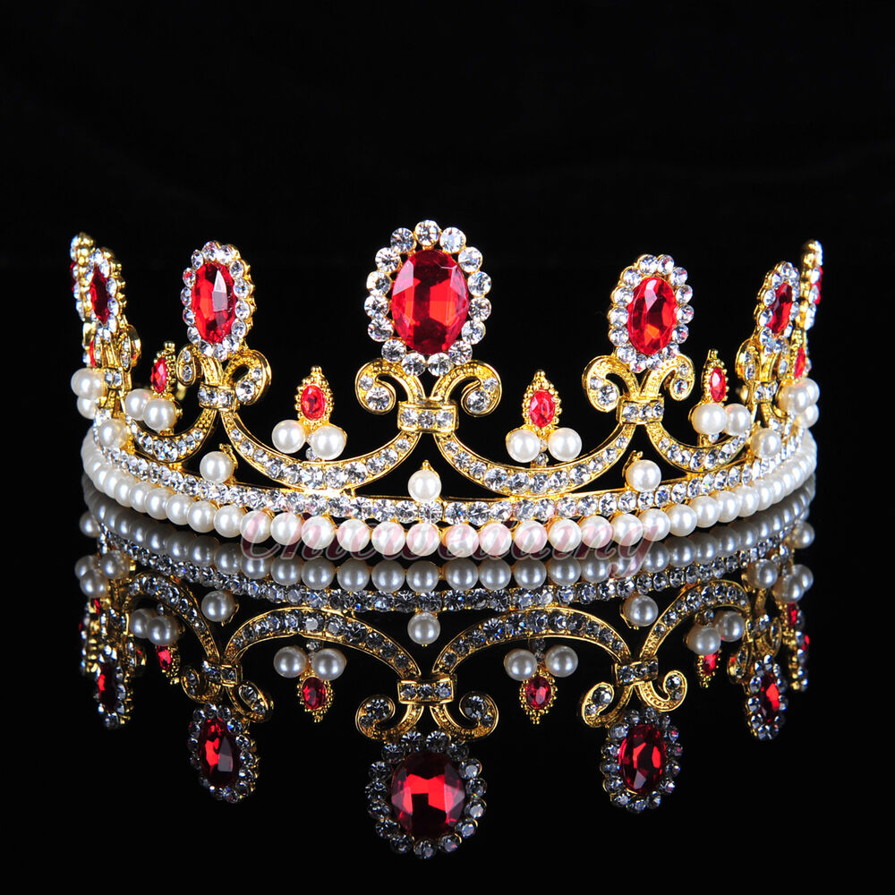 Ruby Crystal Rhinestone Bridal Tiara Princess Pearls Crown