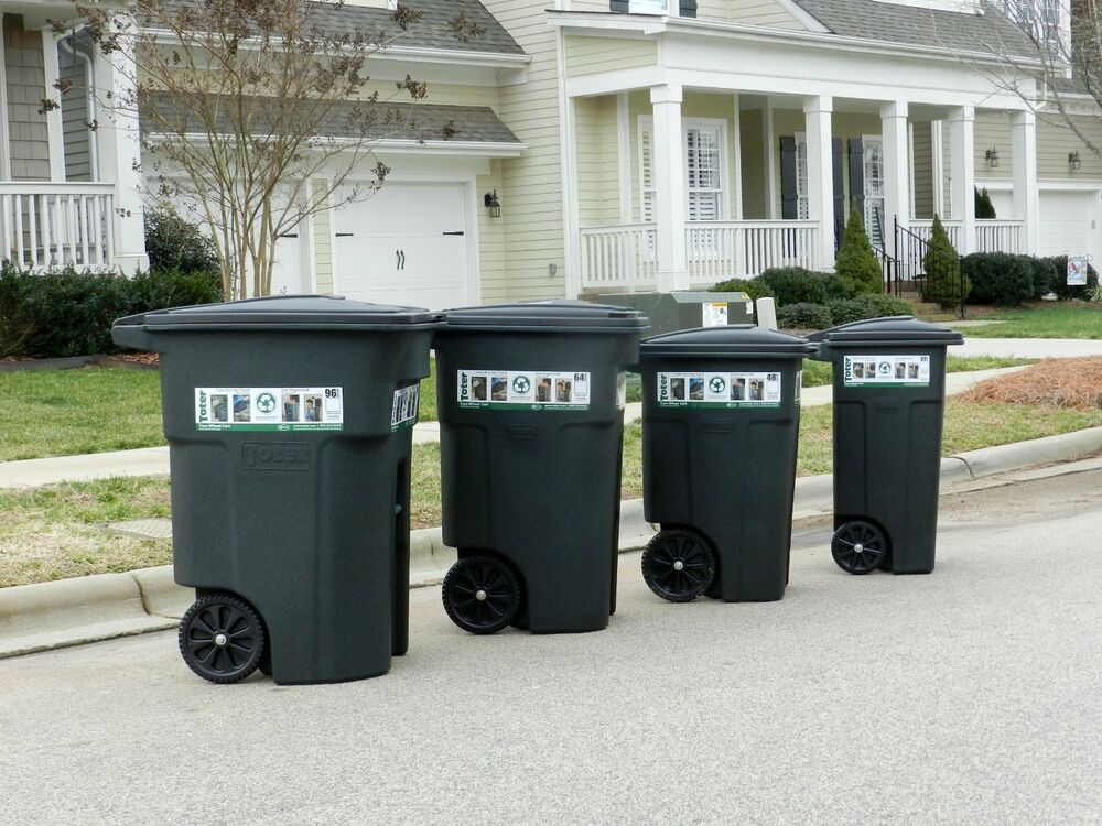 large heavy duty residential trash can wheels lid garbage rolling waste bin usa ebay. Black Bedroom Furniture Sets. Home Design Ideas