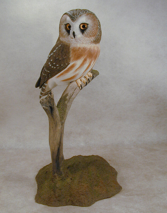 norther saw whet owl original wood carving ebay. Black Bedroom Furniture Sets. Home Design Ideas