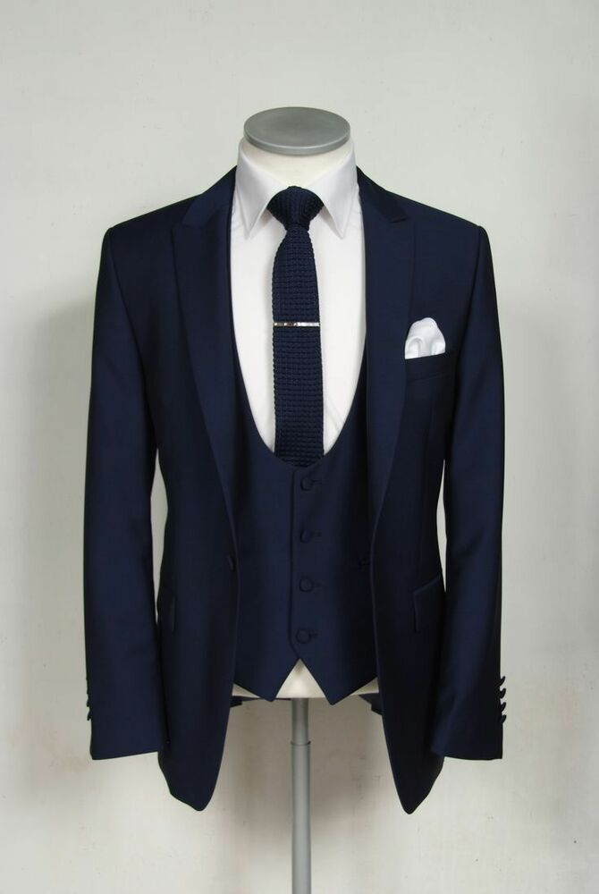 Navy Blue Groom Tuxedos Wedding Men Suits Formal Best Man