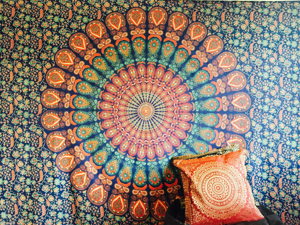 Indian tapestry wall hanging mandala throw hippie gypsy for Wall hanging images