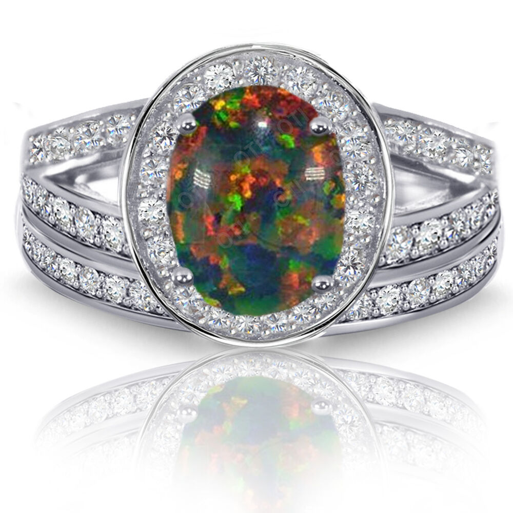 Black Fire Opal Halo Simulated Diamonds Engagement Sterling Silver Ring Set
