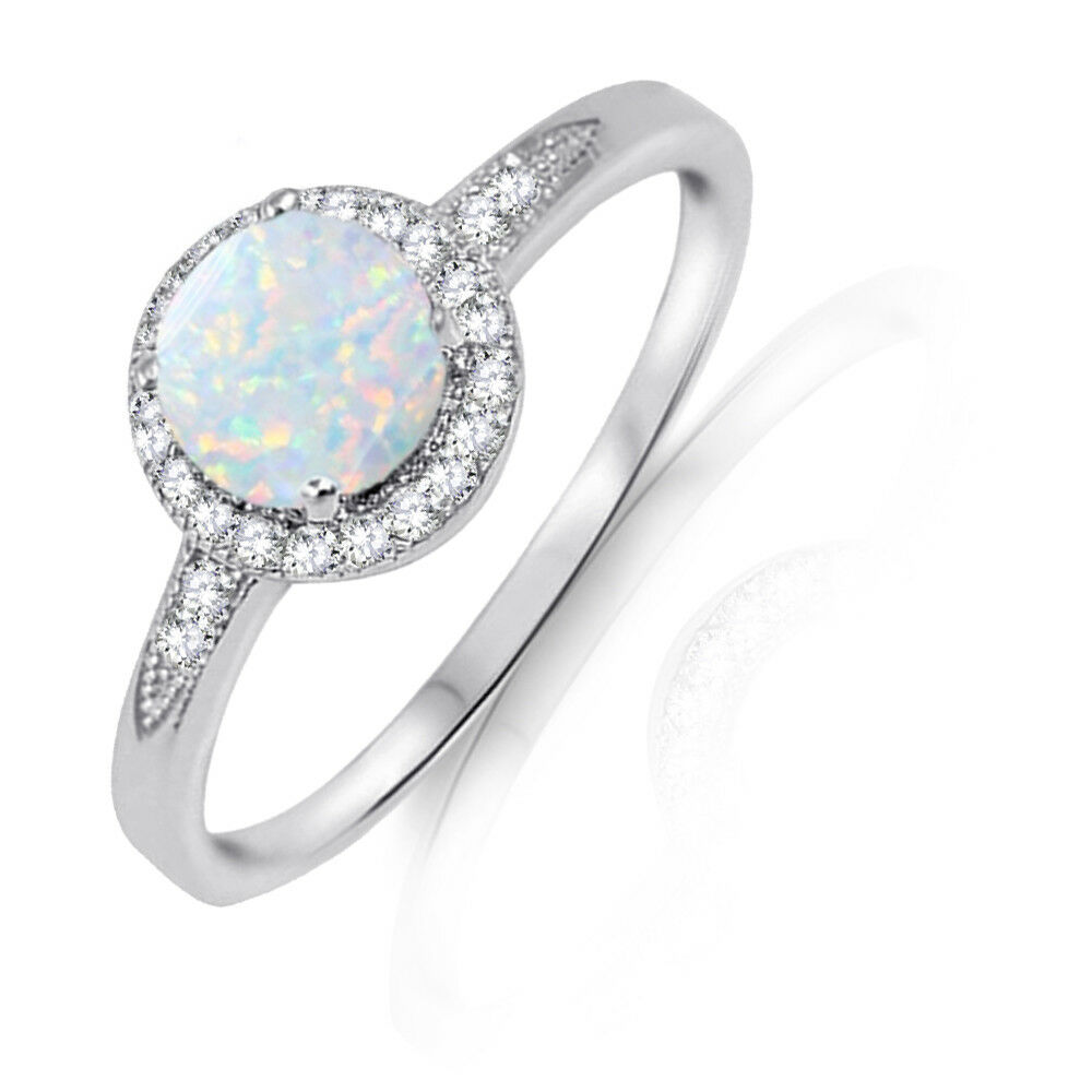 Round Halo White Fire Opal Engagement Bridal White Sapphire Sterling Silver Ring