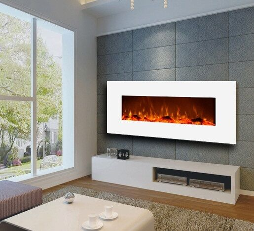 Large Electric Wall Mount Fireplace Modern Realistic Fire