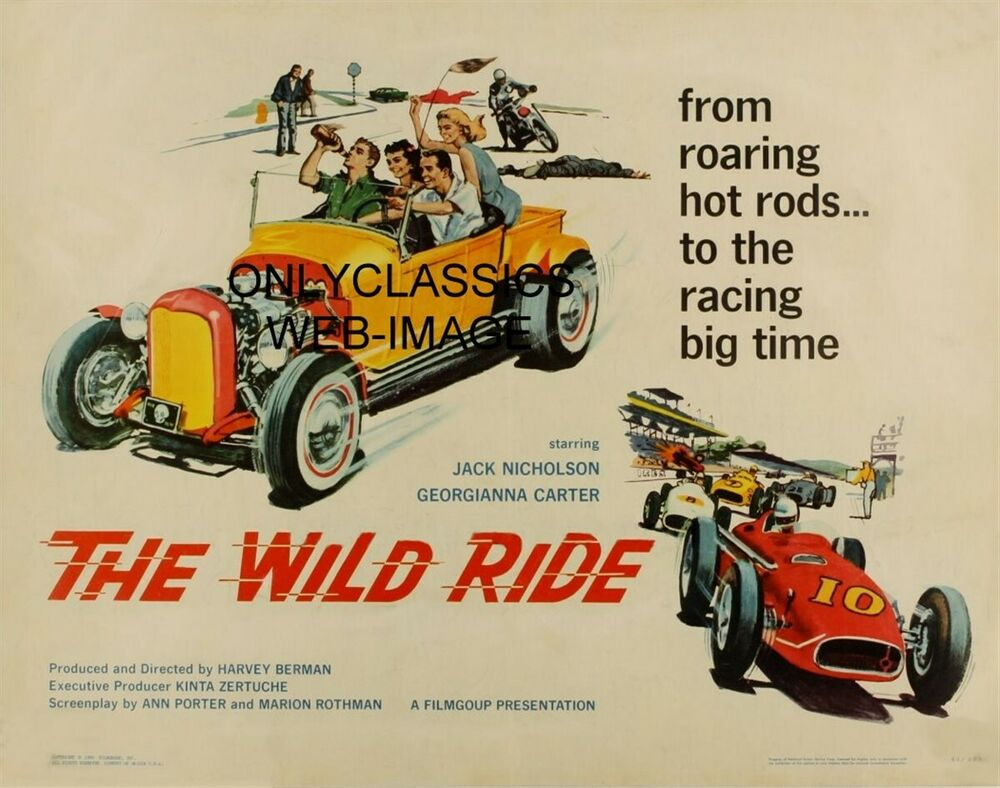 1960 quotthe wild ridequot movie poster hot rod auto racing indy