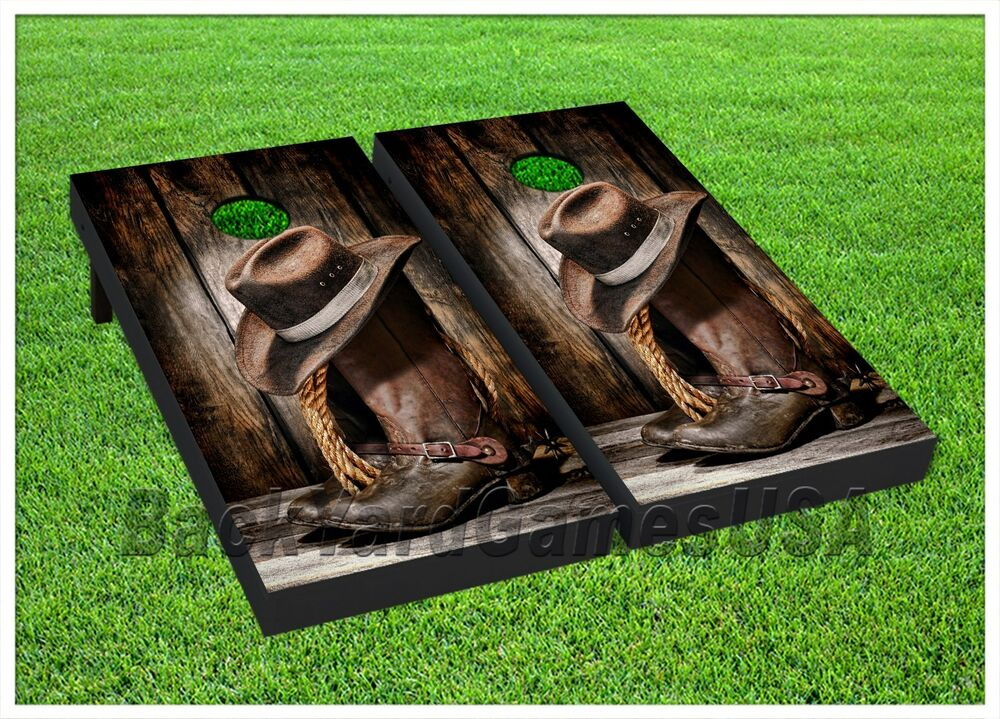 Vinyl Wraps Country Western Cornhole Board Game Decals