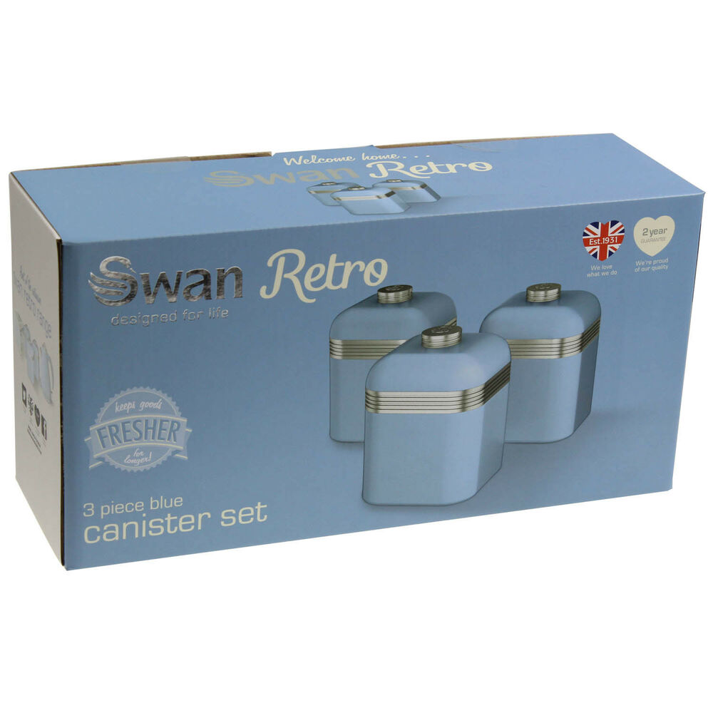 Swan Set Of 3 Tea Coffee Sugar Blue Canisters Jar Kitchen Storage Containers Tin Ebay