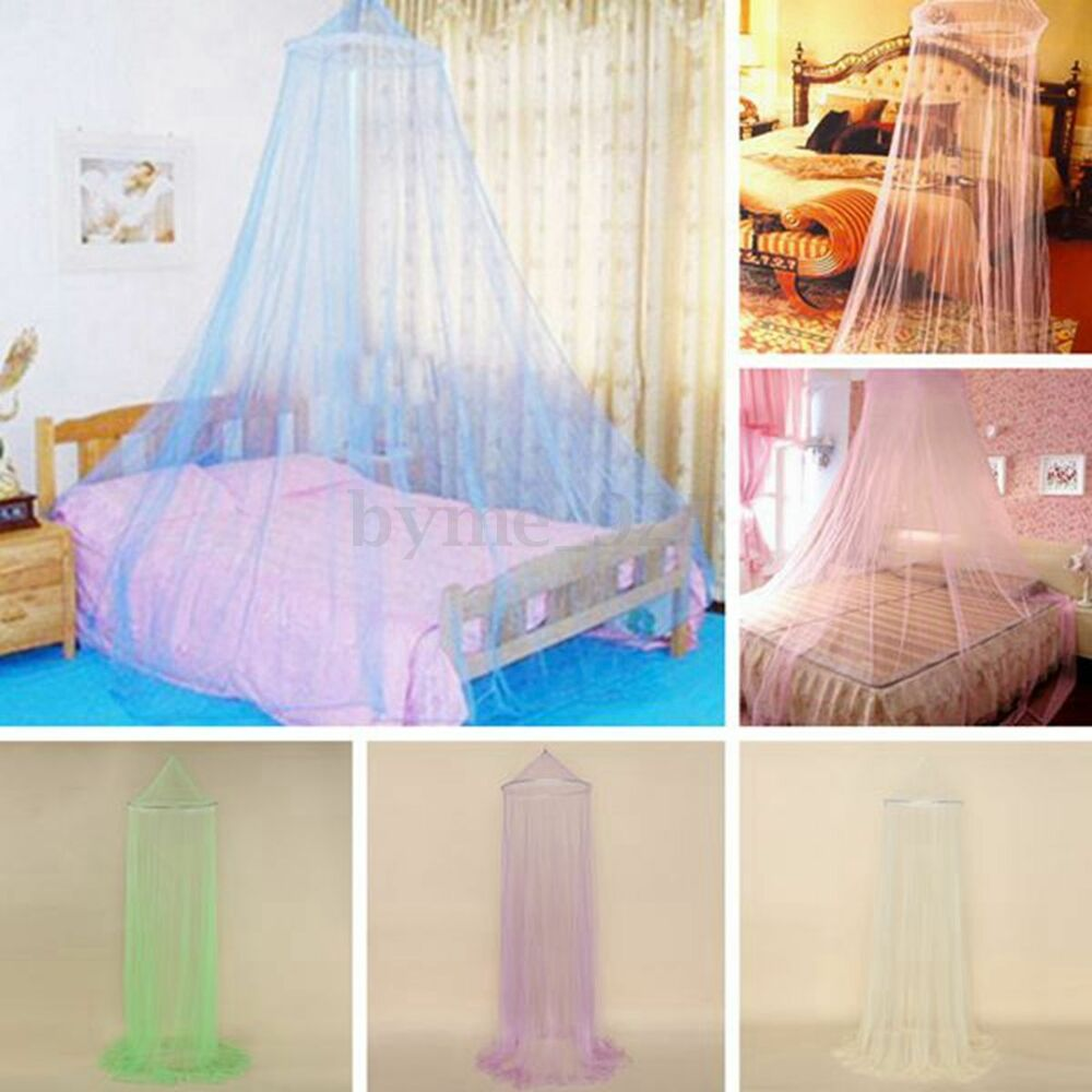 elegant round insect bed canopy princess netting curtain dome mosquito net mesh ebay. Black Bedroom Furniture Sets. Home Design Ideas